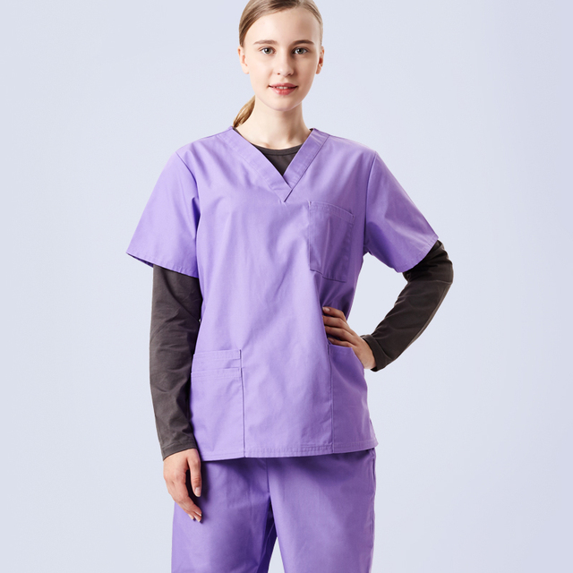 cc5ca2acc0f Plus Size Women's Scrubs Medical Set Nursing Uniform V Neck Short Sleeve  Lavender Poplin Hospital Dentist Doctor Lab Work Wear
