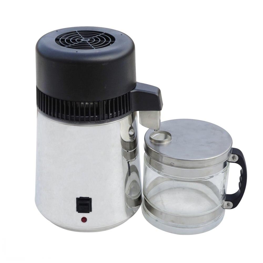 220 v Distillateur D'eau 4L Acier Inoxydable Pur Purificateur D'eau Filtre Avec Bocal En Verre