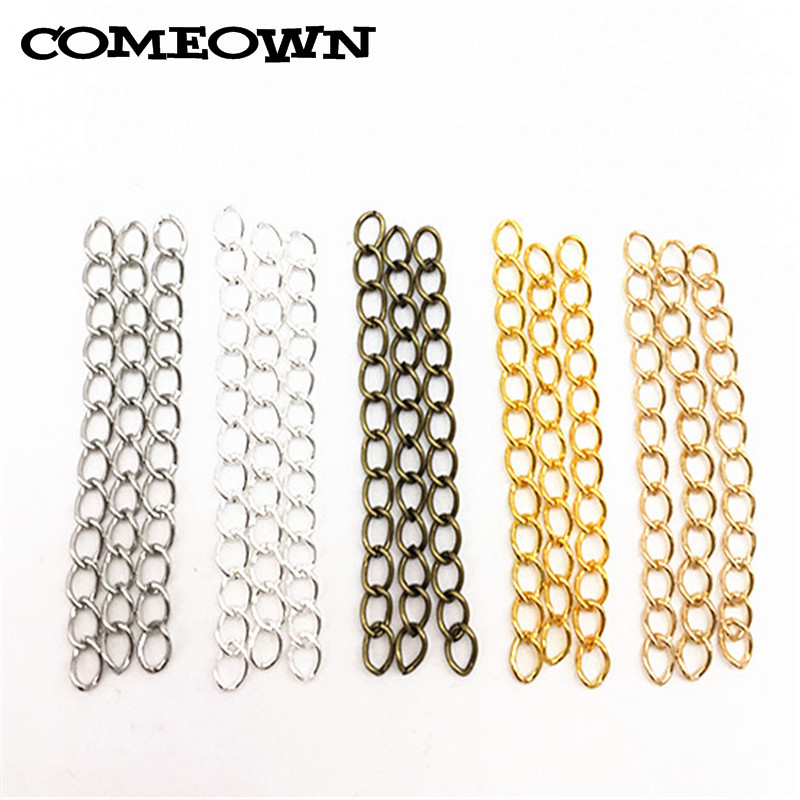 COMEOWN 100pcs 4x50mm Extended Extension Chains 6 Colors Tail Extender for Jewelry Making Findings Necklace Bracelet Chain