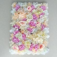 1pcs Artificial Flower Wall 3D Wedding Background Decoration Lawn Pillar Road Lead Arch Silk Rose Hydrangea White