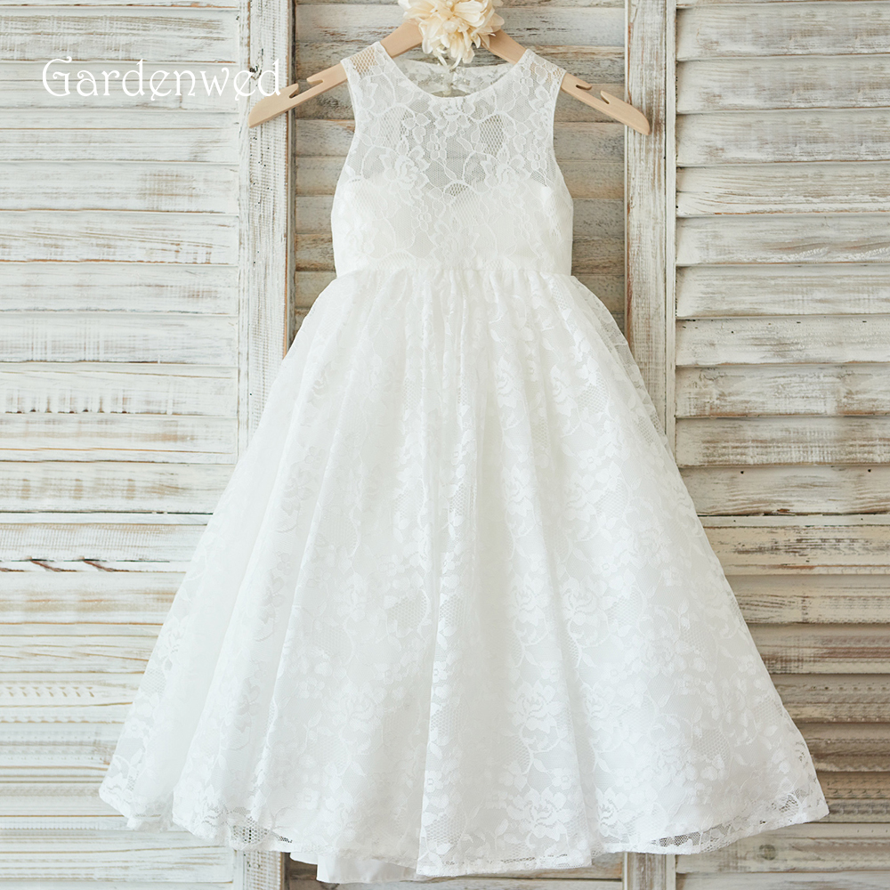 Gardenwed 2019 White Lace New Flower Girl Dresses For Weddings Long Kids Formal Gowns Floor Length