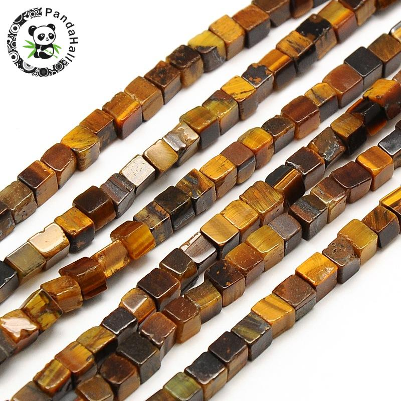 """10Strands Natural Tiger Eye Bead Strands, Cube, 4x4x4mm, Hole: 1mm; about 94~100pcs/strand, 15.7""""-in Beads from Jewelry & Accessories    1"""