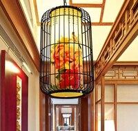 BirdcageI demir kolye ışık koyun lamba clubhouse restoran otel koridor ışıkları şenlikli kırmızı fenerler Çin lambaları ZA pendant lights iron pendant lightiron pendants -