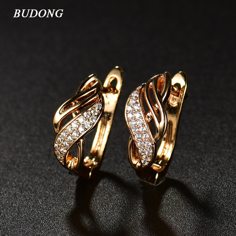 BUDONG Chic Fashion Round Loop Hoop Earrings for Women Silver Gold Color Earrings font b Crystal