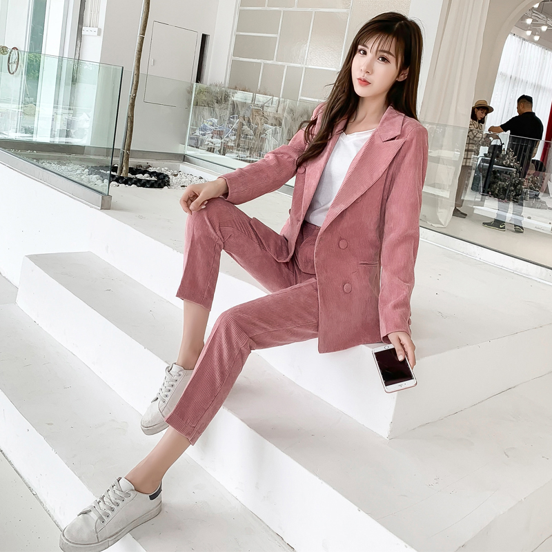 45be8daee0b New Work Corduroy Fashion Pant Suits Women 2 Piece Set for Female Vintage Blazer  Jacket   Trouser Office Lady Suit Feminino-in Pant Suits from Women s ...