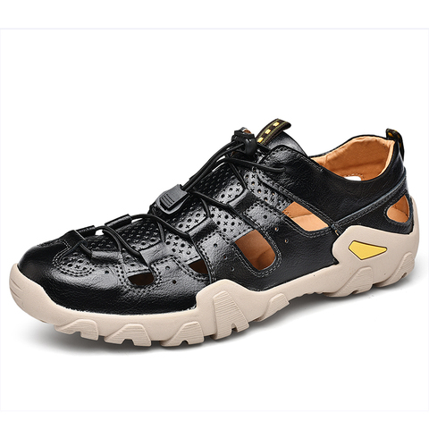 VESONAL Summer Genuine Leather Hollow Non-slip Outdoor Hiking Shoes Men Casual Sandals Breathable Fashion Comfortable Sandals Karachi