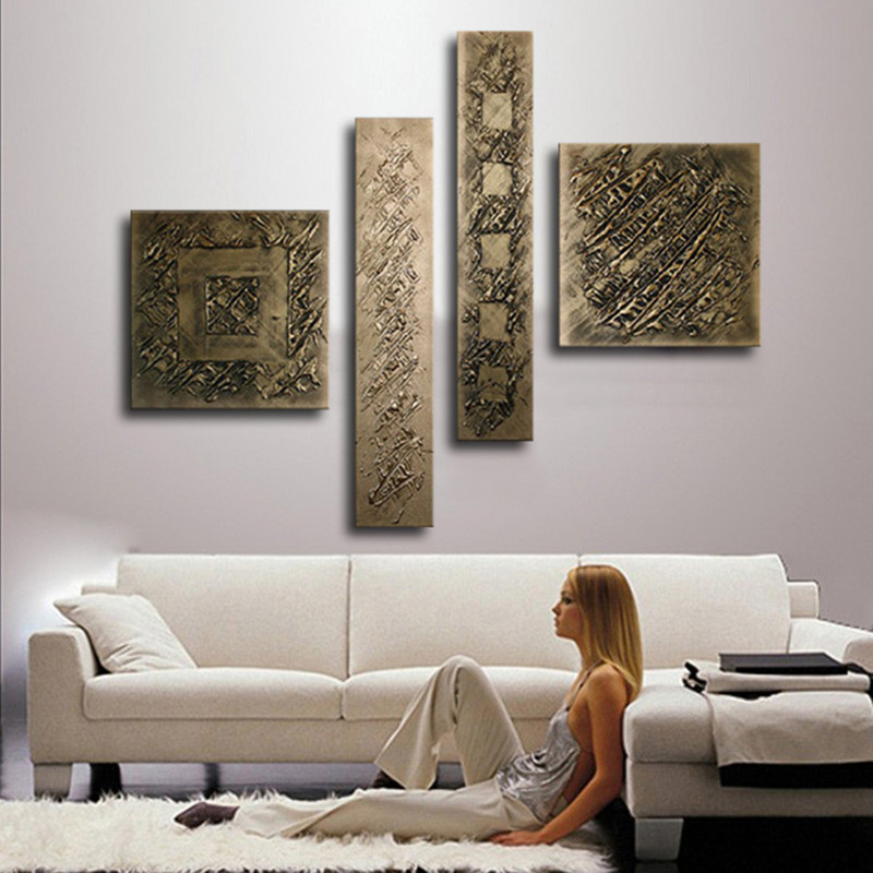 4 Panel Pictures Wall Art Sets Hand Painted Bronze Color Oil Painting On Canvas Modern Home Abstract Paintings for Living Room-in Painting & Calligraphy from Home & Garden    1