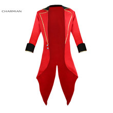Charmian Men's Halloween Cosplay Costume Retro Red Tailcoat Jacket Vintage Swallow-tailed Coat Carnival Costume(China)