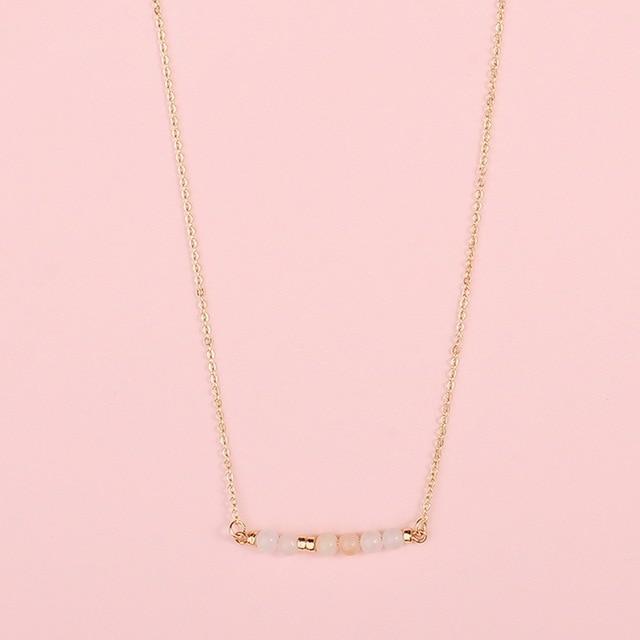 Fashion Jewelry Natural Stones Bar Pendant Choker Necklace Natural Stone Beads Bar Pendant Necklace 3
