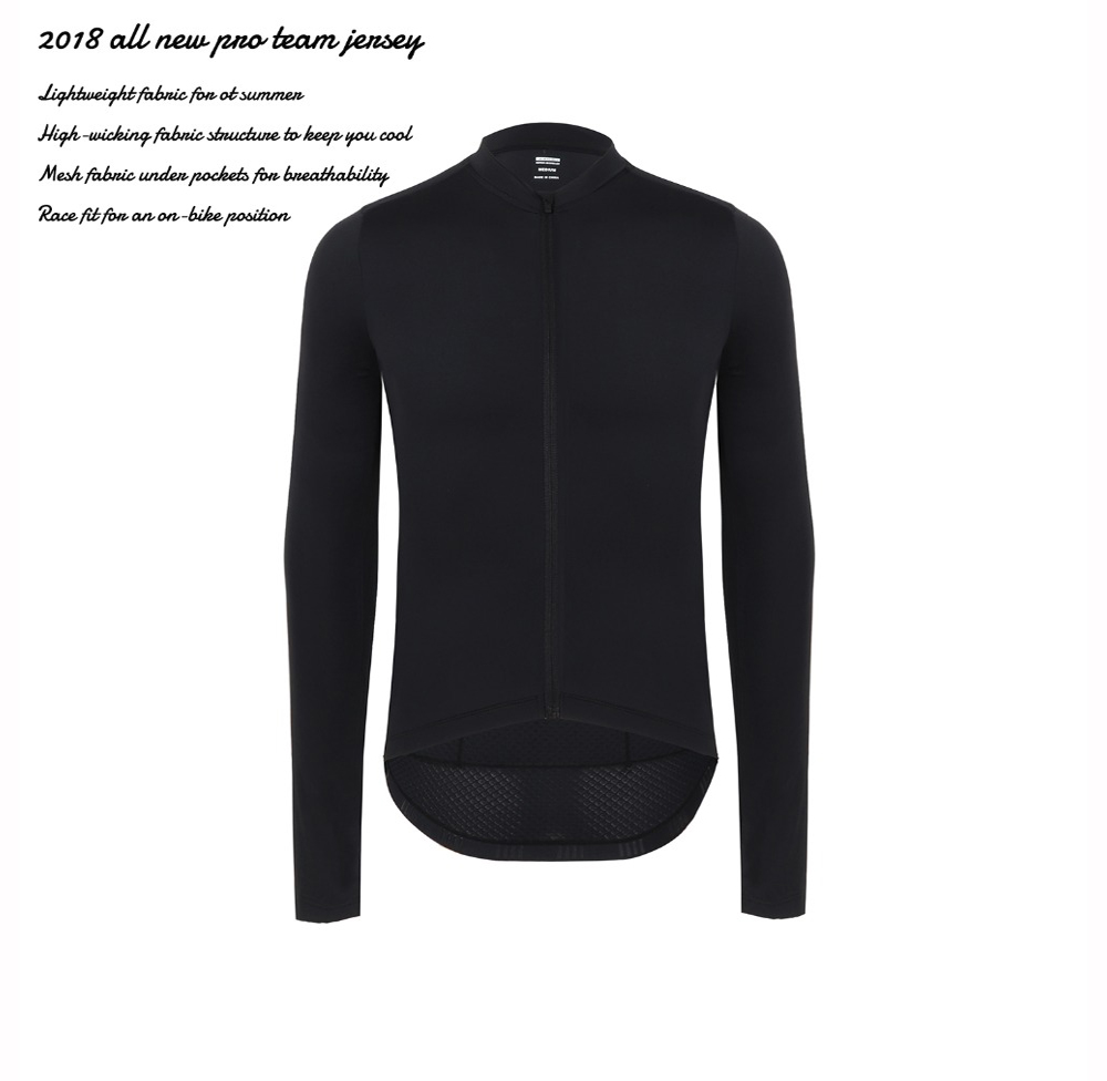 SPEXCEL 2018 all black New Italy fabric Pro Team Long Sleeve Cycling jerseys tranning bicycle race fit cycling clothes in stock