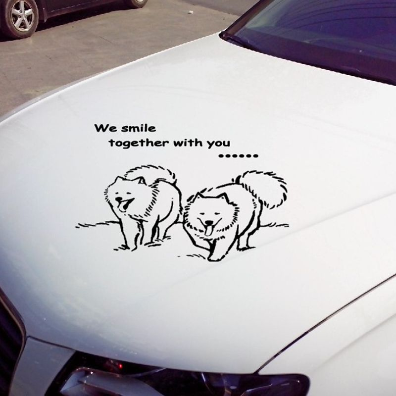 Samoyed dog stickers wall stickers vinyl decal decoration car sticker for car and motorcycle alice in wonderland wall decal quote cheshire sayings we re all mad here vinyl decal for macbooks laptops car windows etc