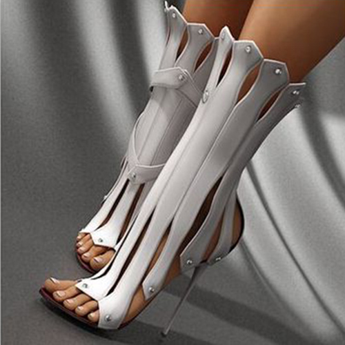 Newest Women Sexy Ruffles Plain Open Toe Zippers Gladiator Sandals Boots Women Fashion High Heel Sandal Booties Shoes Free Ship newest women ropes strappy sexy sandals summer open toe high heel sandal woman gladiator cut outs sandals free ship