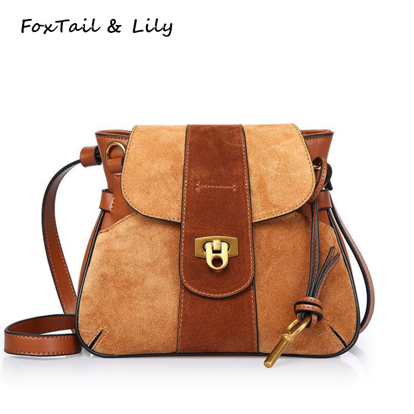 FoxTail & Lily Ladies Small Lock Bag Frosted Genuine Leather Messenger Bags Vintage Shoulder Crossbody Bags Women Handbag