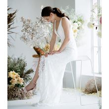 Full Sexy Lace Front Slit Wedding Dresses 2019 Deep V Neck V Back Wedding Dress Backless Bridal Dress vestido de noiva princesa rose print slit back pencil dress