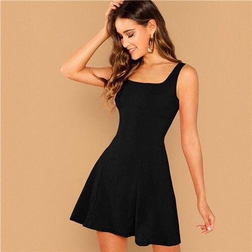 Black Fit Flare Solid Dress...