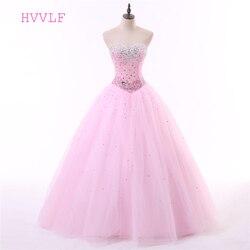 Rosa quinceanera vestidos de baile querida tule frisado cristais luxuoso barato doce 16 vestidos