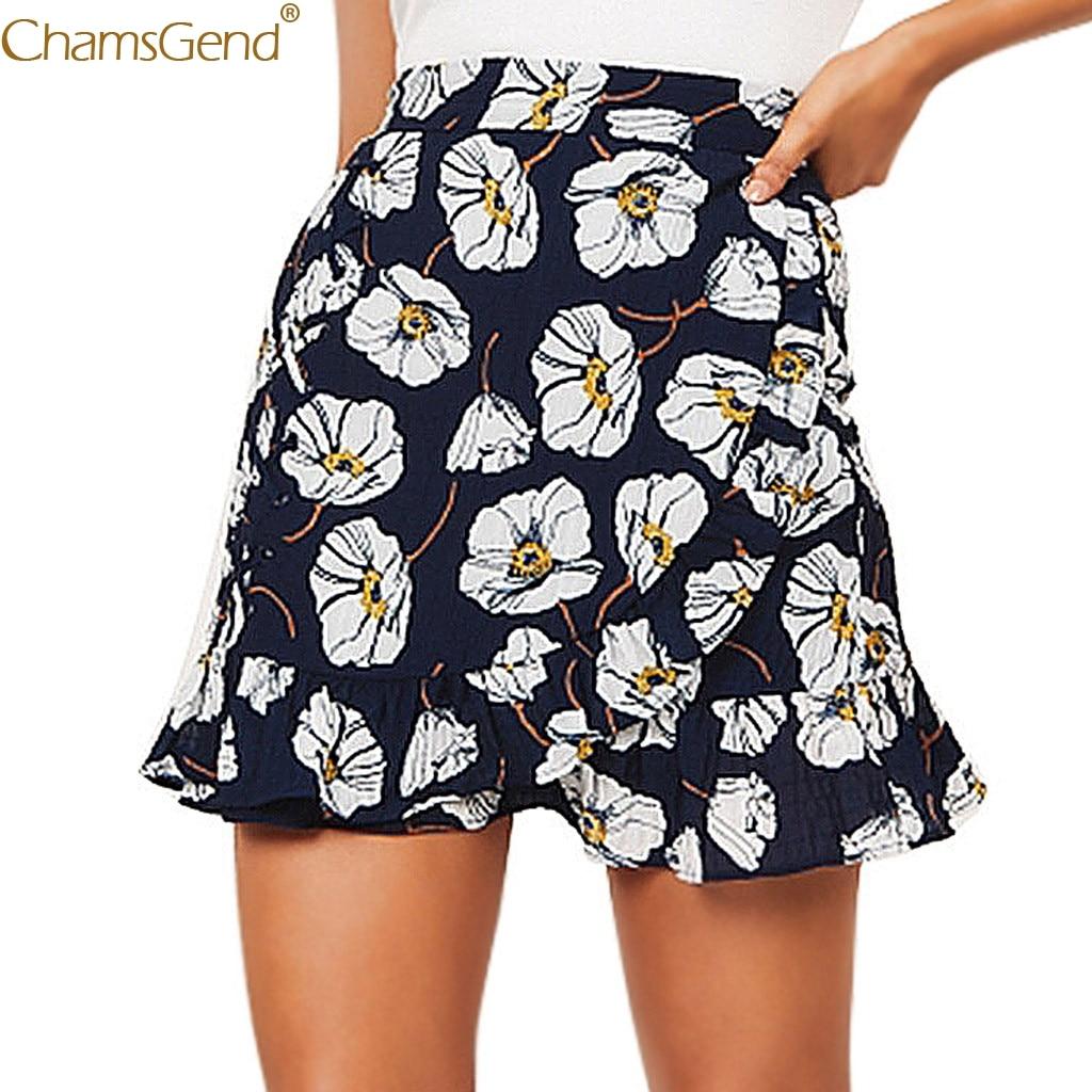 Chamsgend  Women's Fashion Navy Ptintting Sexy High Waist Hip Short Skirt high quality materials  Casual Ruffles Straight Jun11