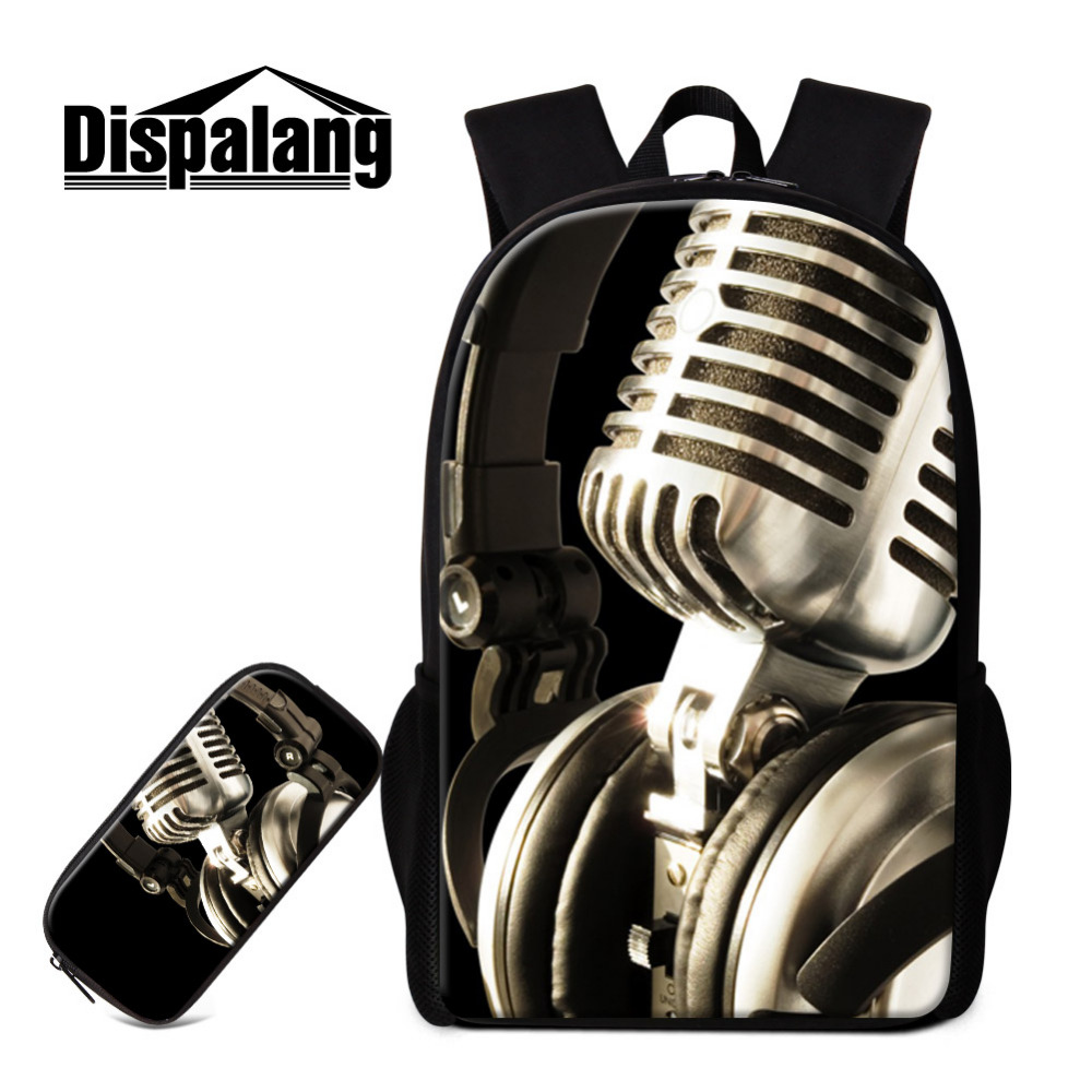 Dispalang 2pcs Sets Women School Bags and Pencil Bag Microphone Printing School Backpack for Teenager Girls Book Bag Pencil Case