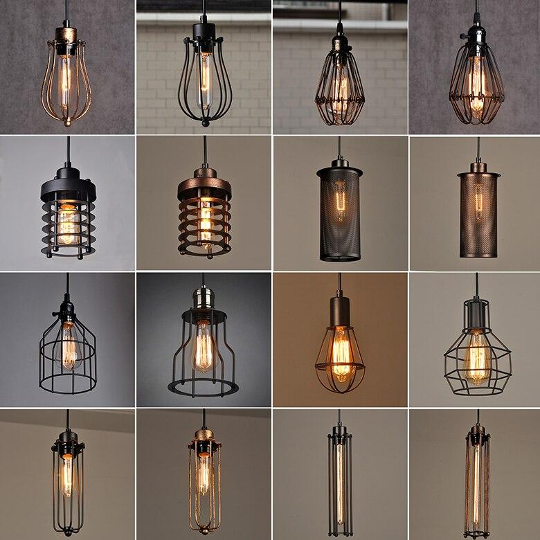 Moderne noir cage suspension lumières fer minimaliste rétro scandinave loft pyramide lampe métal suspension E27 intérieur