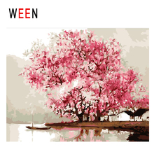 WEEN Beach Boat Diy Painting By Numbers Abstract Pink Flower Tree Oil On Canvas Cuadros Decoracion Acrylic Wall Art
