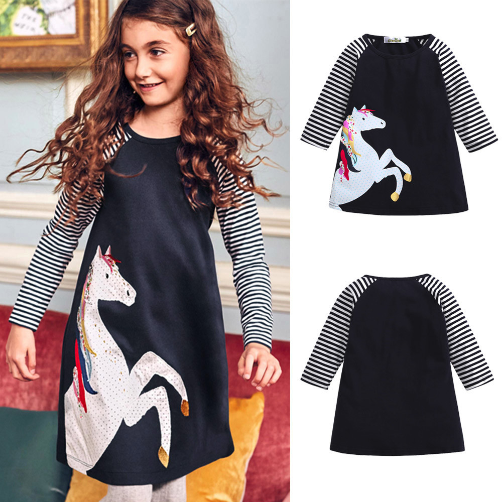 CHAMSGEND Toddler Baby Girl Kid Spring Clothes Horse Stripe Print Princess Party Dress DROPSHIP ap4M30