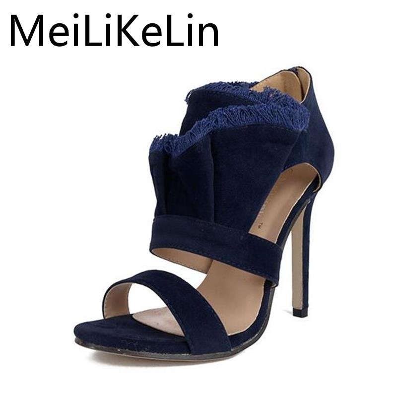 2017 Summer New Fashion High-heeled Sandals Blue Suede Wrinkle Fringe Edge Stiletto Sandals Women's Shoes Bridal Shoe  new pompom wild thing fringe suede sandals women summer wlegance