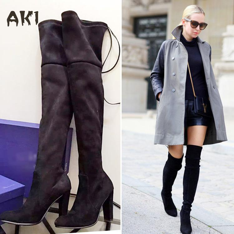 Woman Faux Suede Slim Boots Sexy Over The Knee High Women Snow Boots Women Fashion Winter Thigh High Boots Shoes Botas Feminina hot fashion solid concise suede slim thigh high women boots over the knee winter high heels woman shoes
