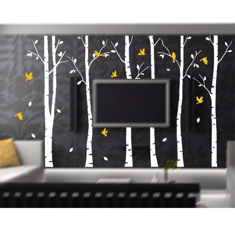 SIA 2017 nouveau grand vinyle noir café brun blanc 4 couleurs bouleau arbre stickers oiseaux vinyle Sticker mural décor à la maison