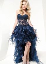 Special Hi-Lo Cocktail Dress 2015 Sexy Sweetheart Backless Off- Shoulder Appliques Beaded Homecoming Party Dresses For Women юбка d lo women 9500 2015