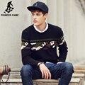 Pioneer camp novas dos homens casuais marca camisola outono inverno o pescoço grosso pulôver de malha suéteres masculinos de alta qualidade 611202