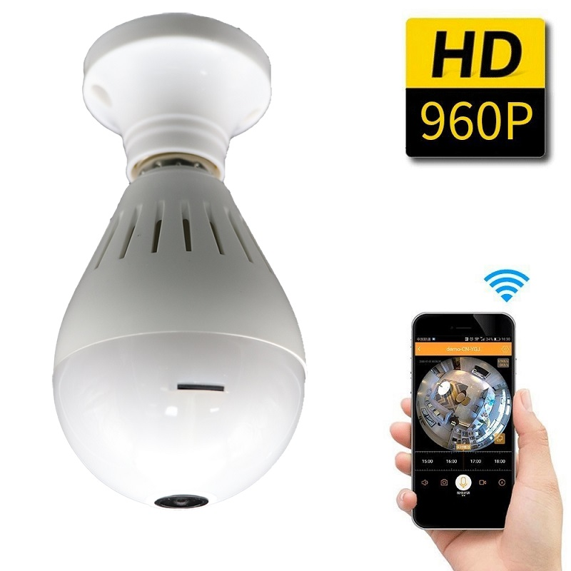 360 Degree WIFI Camera Wireless IP Camera Wi-Fi Bulb Lamp Fisheye Panoramic Surveillance Security Camera Motion Detection 960P vr360 panoramic camera wi fi remote control sports action camera