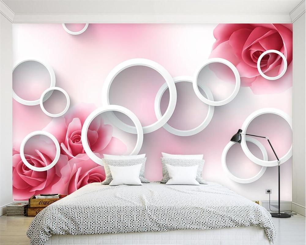 Beibehang Custom Wallpaper Modern 3D Circle Rose TV Background Wall Home Decor Living Room Bedroom Background Mural 3d Wallpaper
