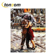 RIHE Lovers Embraced Drawing By Numbers DIY Snowing Painting Handwork On Canvas Oil Art Coloring Home Decor