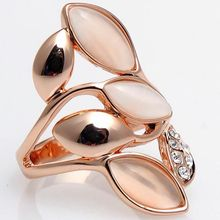 classic Plated Rose Gold Crystal Opal Cat's eye stone Studded Rings Fashion Jewelry For Women Party The Best Gift