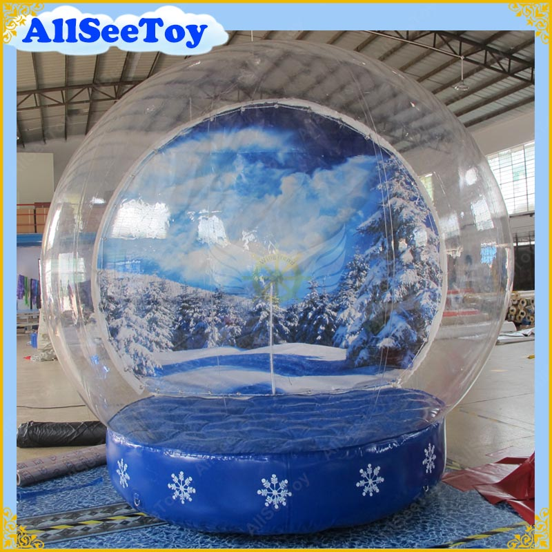 Giant 3m Inflatable Snow Globe for Christmas Decoration,Commercial Quality,Free Shipping Inflatable Snow Globe Dome 10pcs lot cold resistant pvc inflatable unicorn winter snow tube inflatable snow games toys snow tube toy