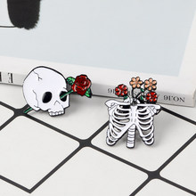Skeleton with flowers Enamel Pins Rib cage and skull with flowers Brooch Halloween pin Badge Goth Punk Jewelry Gift for friends(China)