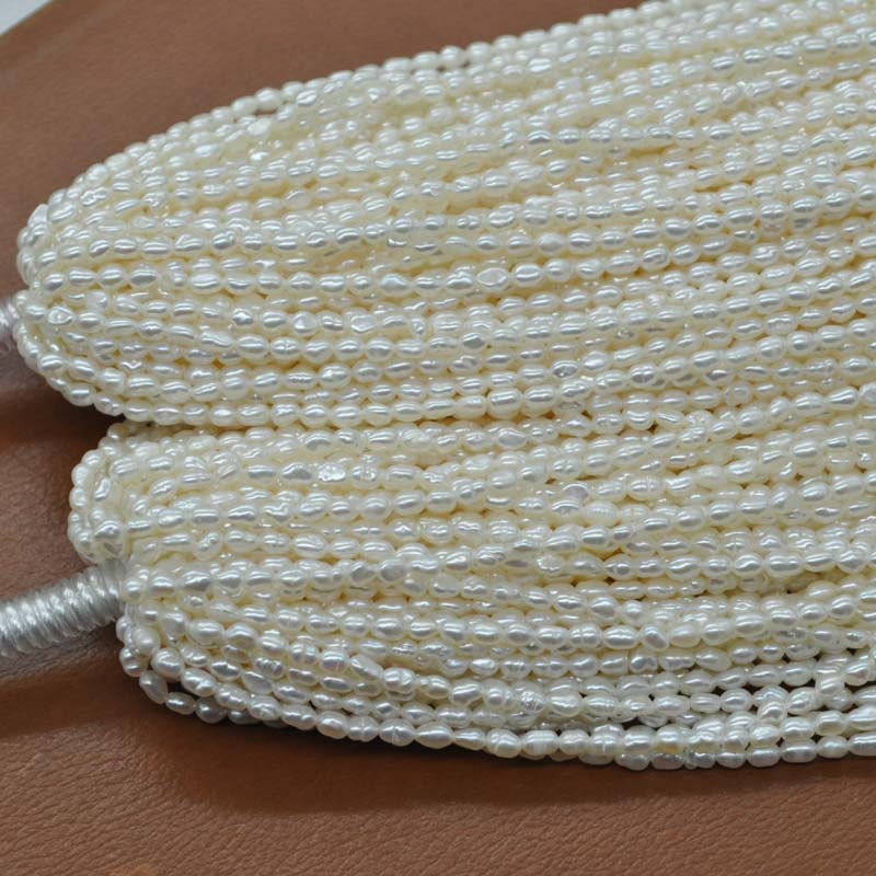 wholesale small beads 3mm rice genuine freshwater pearl loose strings