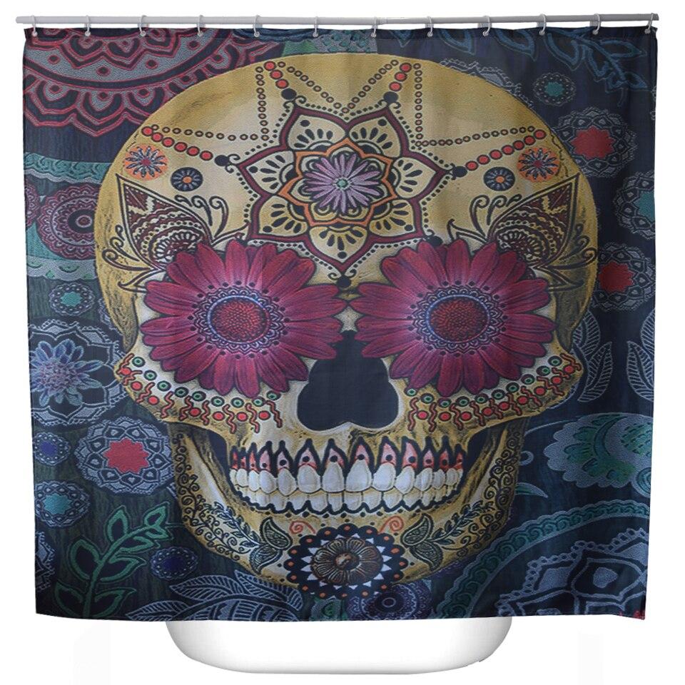 Svetanya Skull Flower Print Cortinas De Ducha Productos de Baño Decoración Cuart