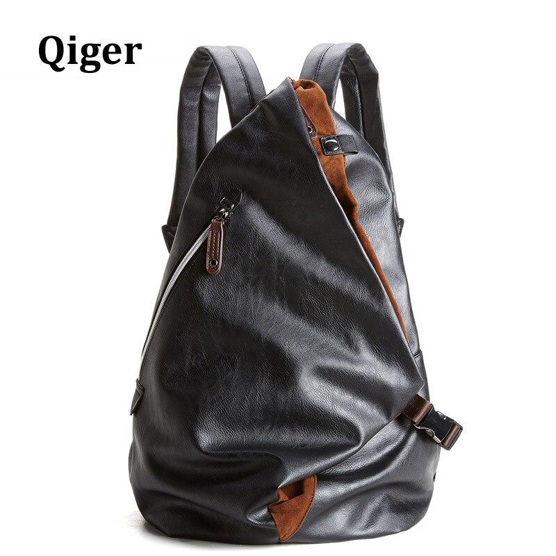 ФОТО Qiger Fashion Brand Backpack Men PU Leather Vintage Travel Men Bag pack for Teenagers Youth Mochila Masculina
