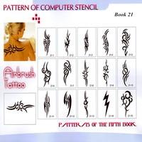 New Design 1 Book Reusable Airbrush Temporary Tattoo Stencils Books Kit 24 Books 2223 Designs High Quality