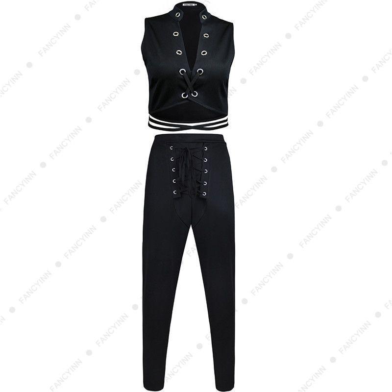 FANCYINN Sexy Lace-Up Clubwear Bodycon Black Party Jumpsuit Women Skinny Romper Long Trousers 2Pcs Set Female Overalls