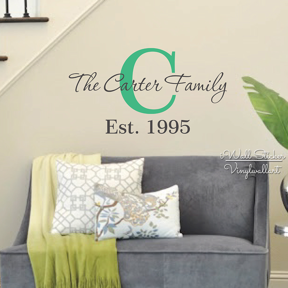 Custom Family Name Wall Sticker Family Name Wall Decal Personalized