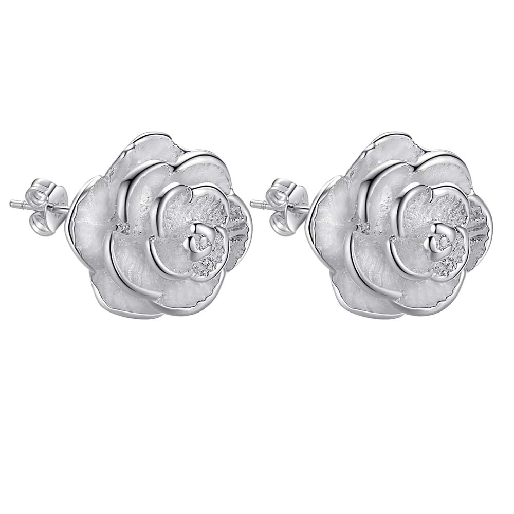 94c59af69 New Arrival rose flower plant silver plated Earrings for women fashion jewelry  Earring /INFKPOHR SPRKBUXF