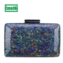 Fashion Marble Acrylic Clutch Bag Colorful Baker Retro Lady Messenger Elegant Evening Party