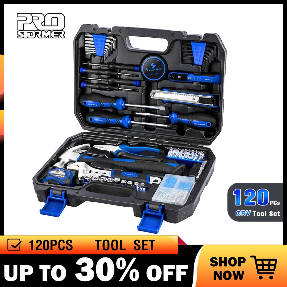 Prostormer 120 Pcs Combination Household Hand Tool Set Repair Ratchet Spanner Wrench Socket  Professional Tool Kits Strong Case