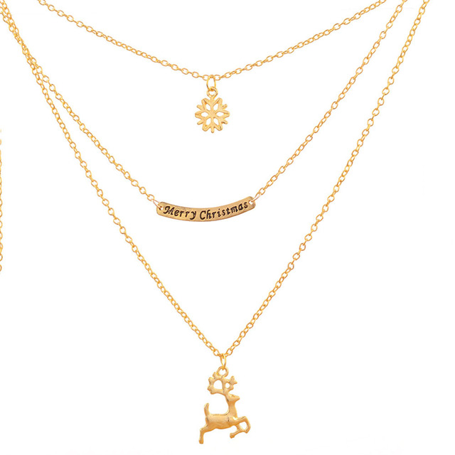 Fashion merry christmas necklace multi layers snowflake deer pendant fashion merry christmas necklace multi layers snowflake deer pendant necklaces for women jewelry gifts cx17 aloadofball Image collections