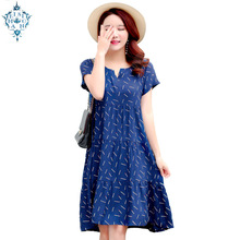 Ameision Summer dresses women casual V-neck print vintage vestidos verano 2019 clothes plus size cotton Female dress