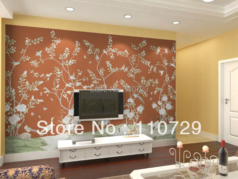 Southeast Asia Style Hand Painted Silk Wallpaper Painting Flower With Bird  Hand Painted Wall Paper Many Pictures/colors Optional