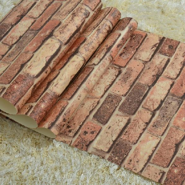 Red brick Vintage Style three-dimensional brick wallpaper roll natural stone brick effect wall paper home background decor