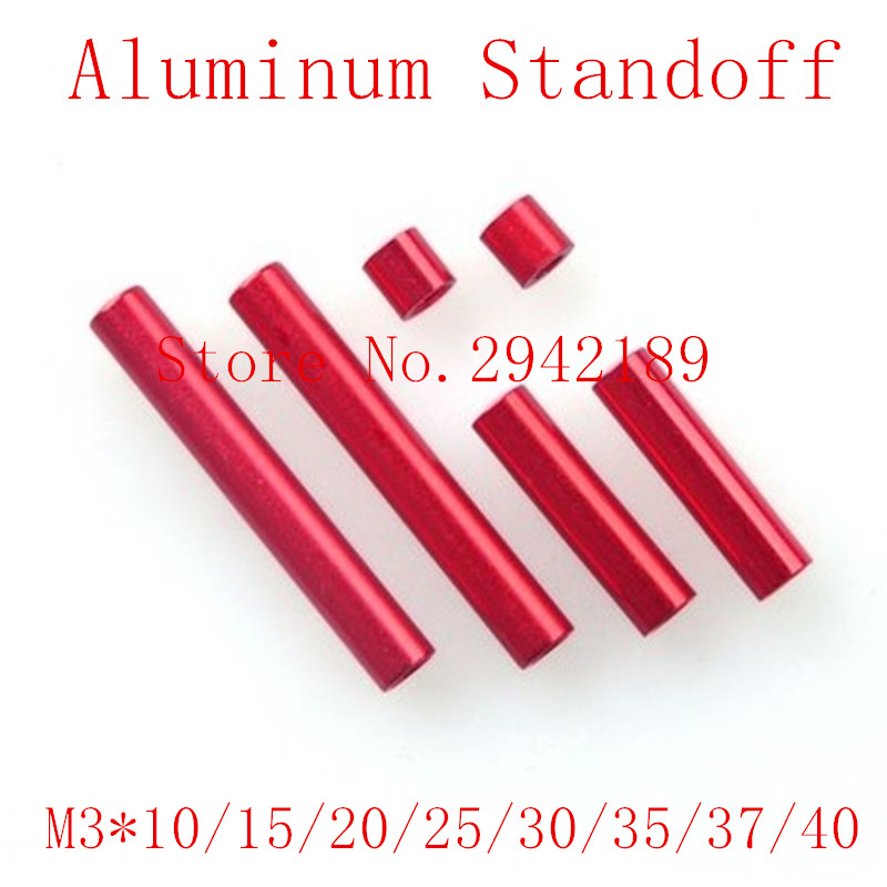 10pcs/lot free shipping m3*10/15/20/25/30/35/37/40 red  aluminum round standoff spacer long nut free shipping 50pcs lot m3 5 0x35mm aluminum standoff spacer for dslr drone
